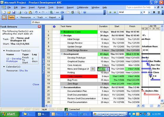 Скриншот программы microsoft project