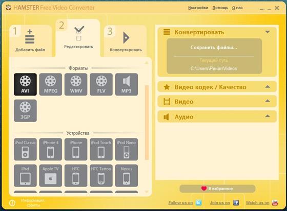 Скриншот программы hamster free video converter