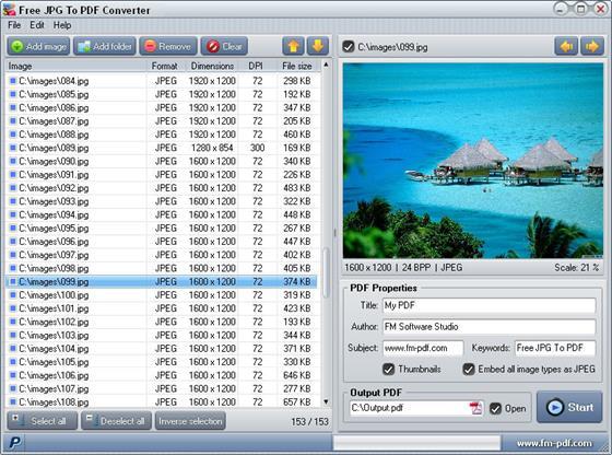 Скриншот программы jpg to pdf converter