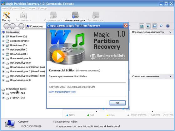 Скриншот программы magic partition recovery