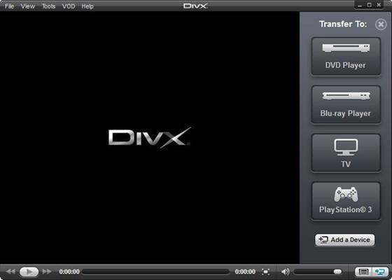 Скриншот программы divx player