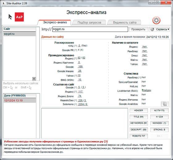 Скриншот программы site-auditor