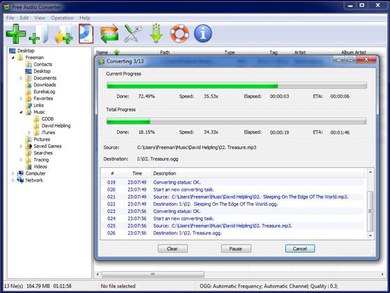 Скриншот программы free audio converter