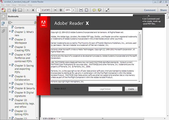 Скриншот программы adobe reader 11