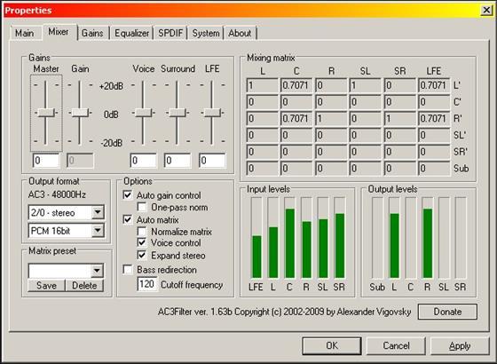 Скриншот программы ac3 codec
