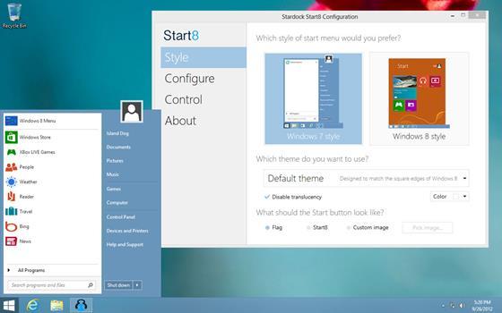 Скриншот программы start8