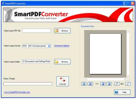 Скриншот программы smart pdf converter pro