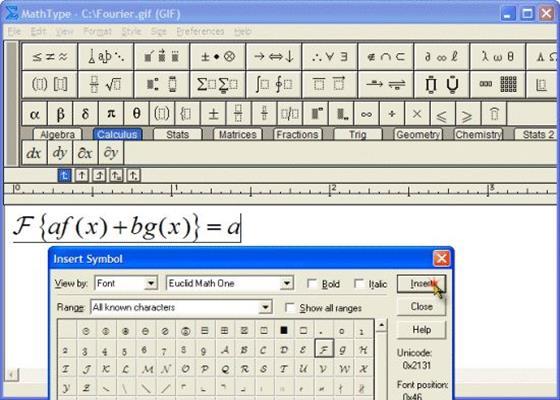 Скриншот программы mathtype