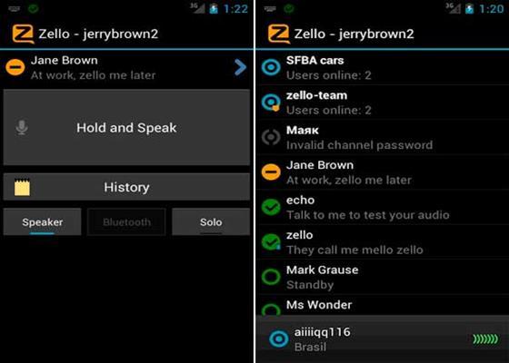 Скриншот программы zello