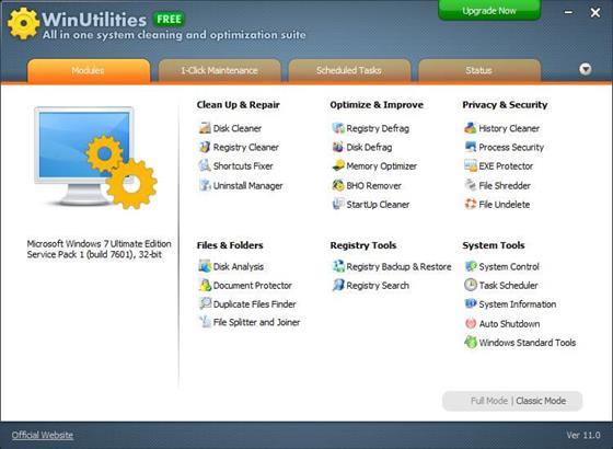 Скриншот программы winutilities free