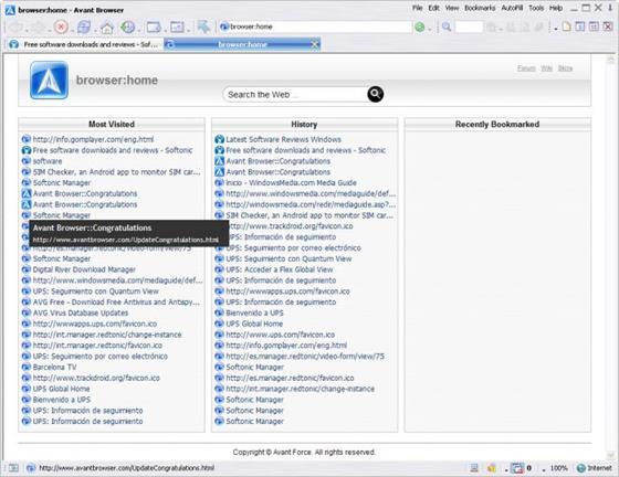 Скриншот программы avant browser