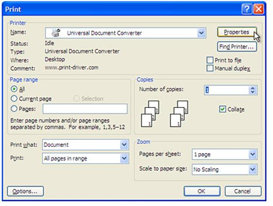 Скриншот программы universal document converter