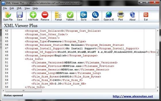 Скриншот программы xml viewer