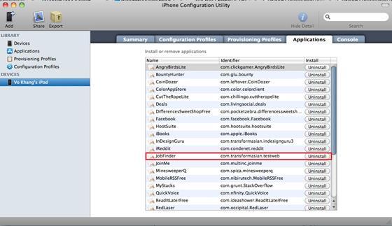 Скриншот программы iphone configuration utility