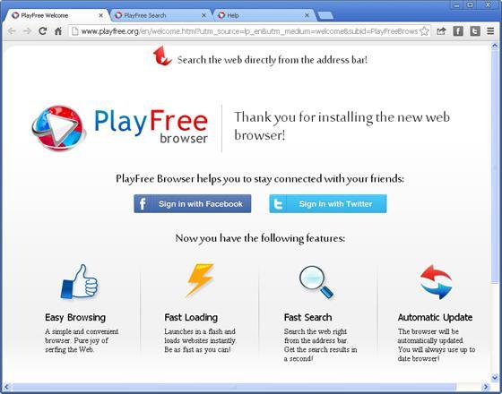 Скриншот программы playfree browser