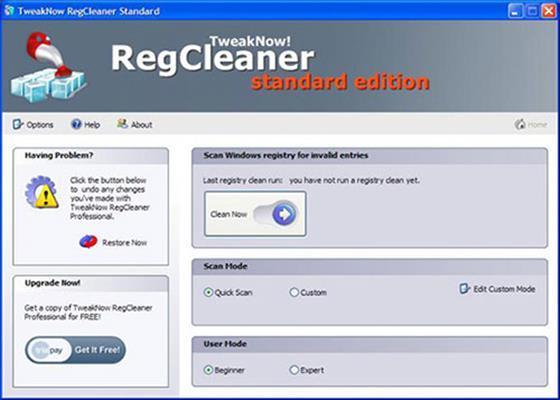 Скриншот программы tweaknow regcleaner для windows 7