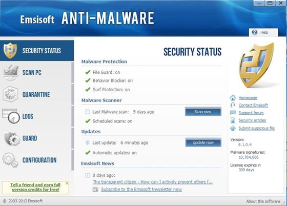 Скриншот программы emsisoft anti-malware