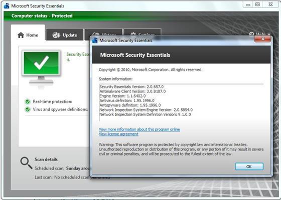 Скриншот программы microsoft security essentials для windows 7