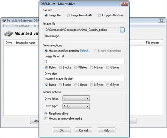 Скриншот программы osfmount