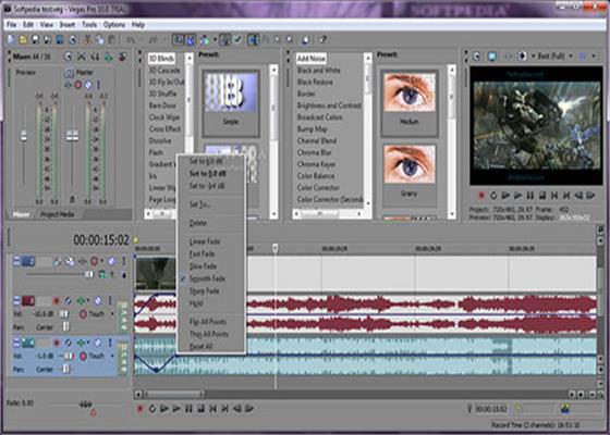 Скриншот программы sony vegas pro 9