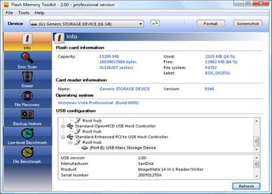 Скриншот программы flash memory toolkit