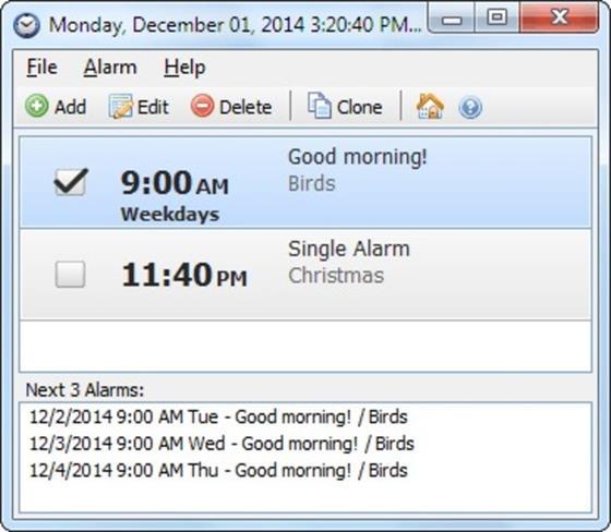 Скриншот программы free alarm clock