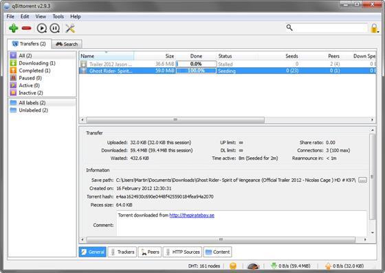 Скриншот программы qbittorrent