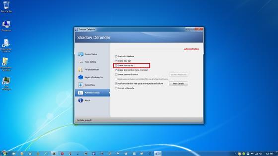 Скриншот программы shadow defender