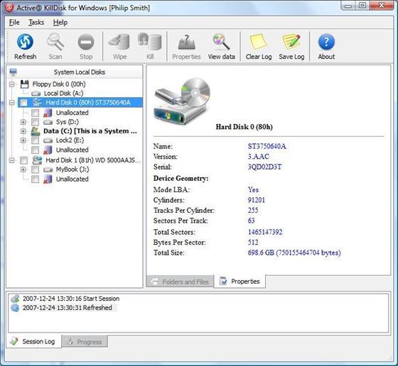 Скриншот программы active killdisk