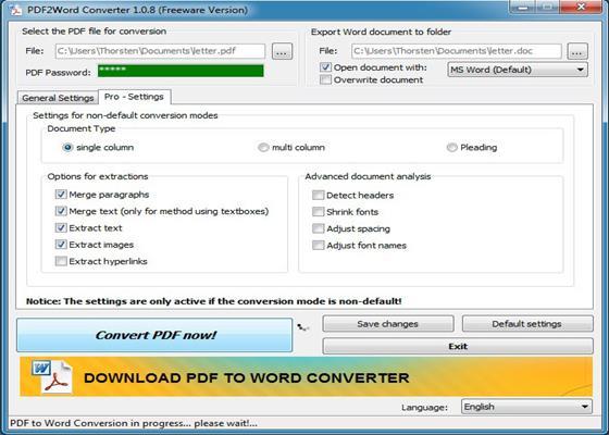 Скриншот программы pdf2word