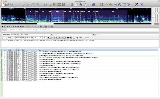 Скриншот программы aegisub