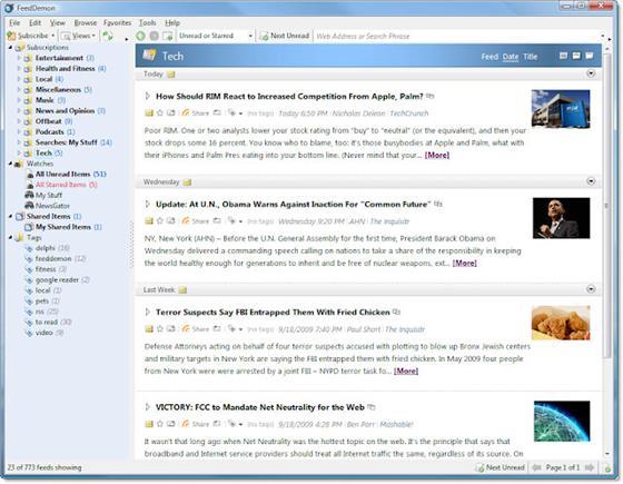 Скриншот программы feeddemon