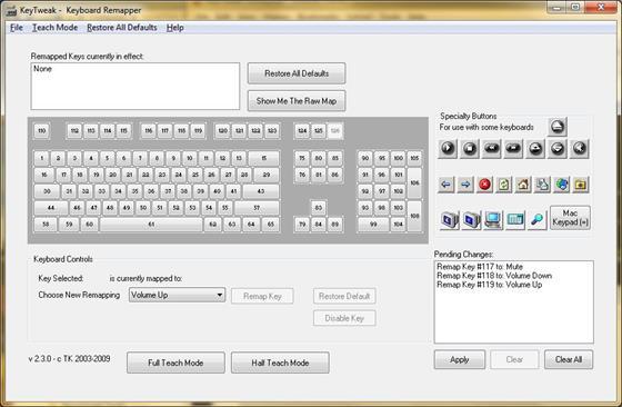 Скриншот программы keytweak