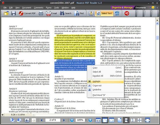 Скриншот программы nuance pdf reader