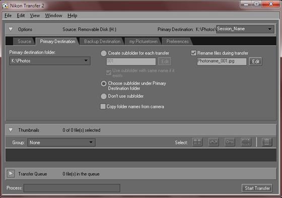 Скриншот программы nikon transfer
