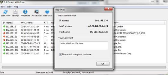 Скриншот программы softperfect wifi guard