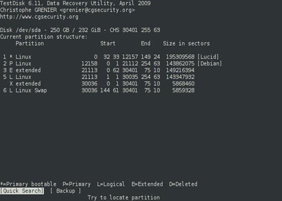 Скриншот программы testdisk
