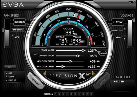 Скриншот программы evga precision x