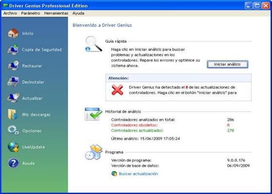 Скриншот программы driver genius