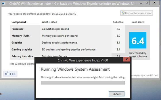 Скриншот программы chrispc win experience index