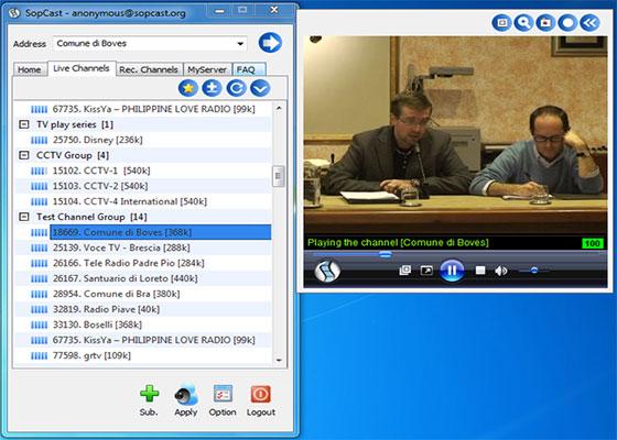 Скриншот программы sopcast 3.5.0