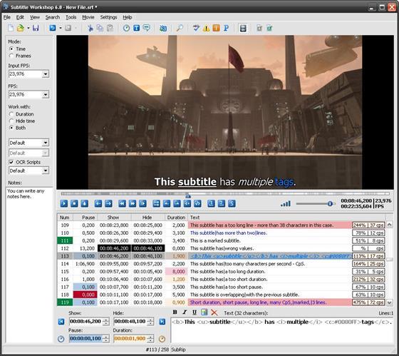 Скриншот программы subtitle workshop