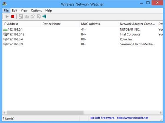 Скриншот программы wireless network watcher