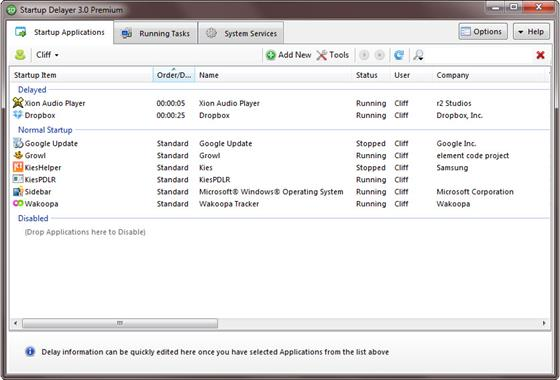 Скриншот программы startup delayer