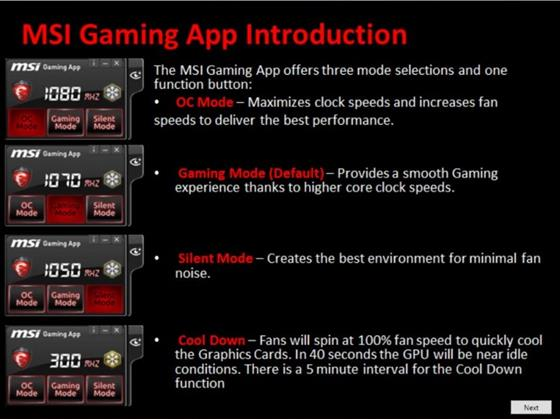 Скриншот программы msi gaming app