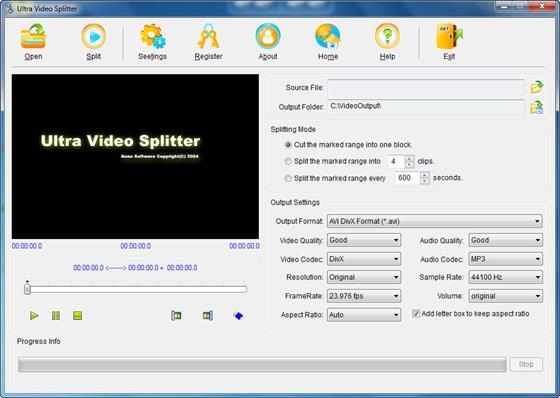 Скриншот программы ultra video splitter