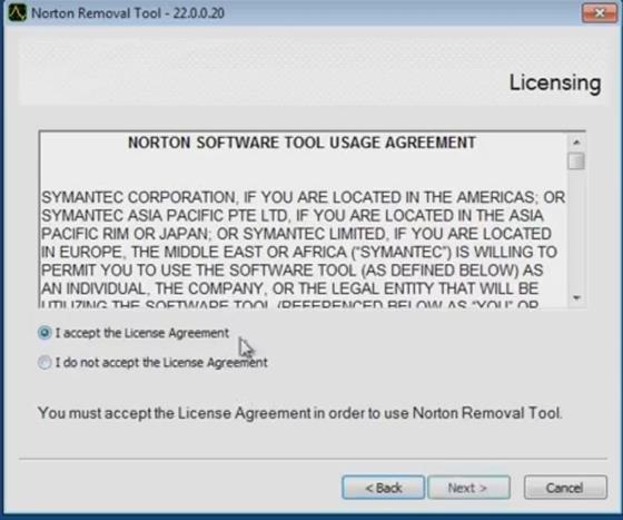 Скриншот программы norton removal tool
