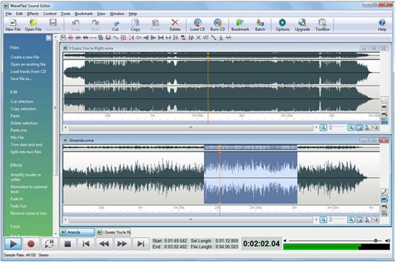 Скриншот программы wavepad sound editor