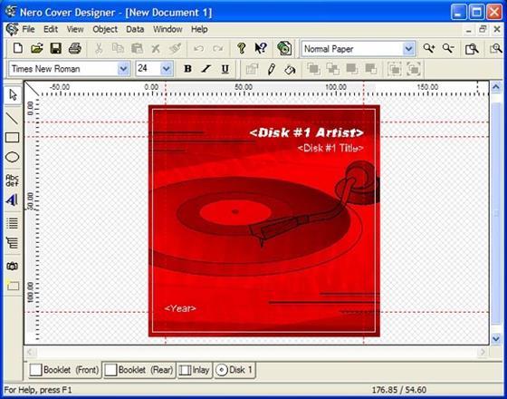 Скриншот программы nero cover designer