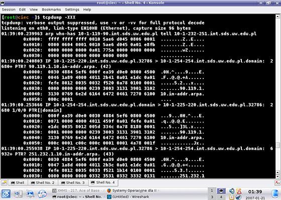 Скриншот программы tcpdump